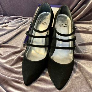 Stuart Weitzman Black Three Strap Velvet Heels